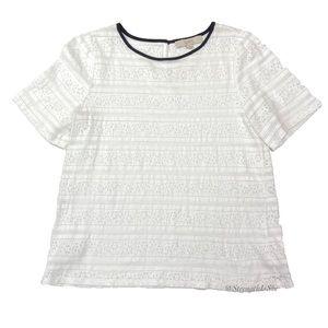 Ann Taylor Loft  Short Sleeve Lace Keyhole Blouse
